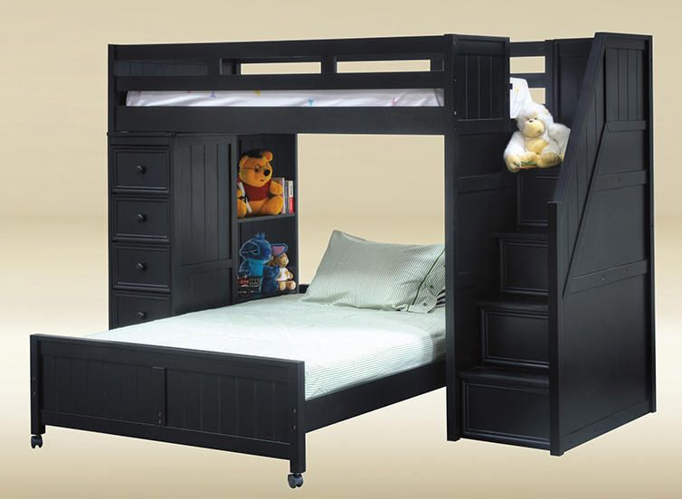 get in whitethurston black twin over full stairway loft bed - Loft Twin Bed Frame
