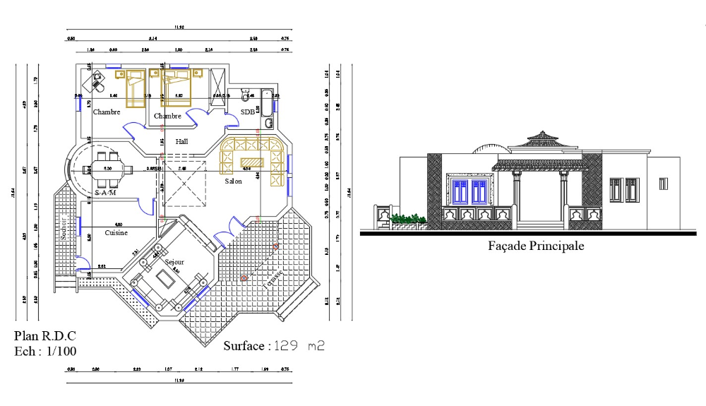 2d Dwg Drawing Ground Floor Plan And Elevation Of Bungalow Autocad File Cadbull House Layout Plans House Layouts Ground Floor Plan