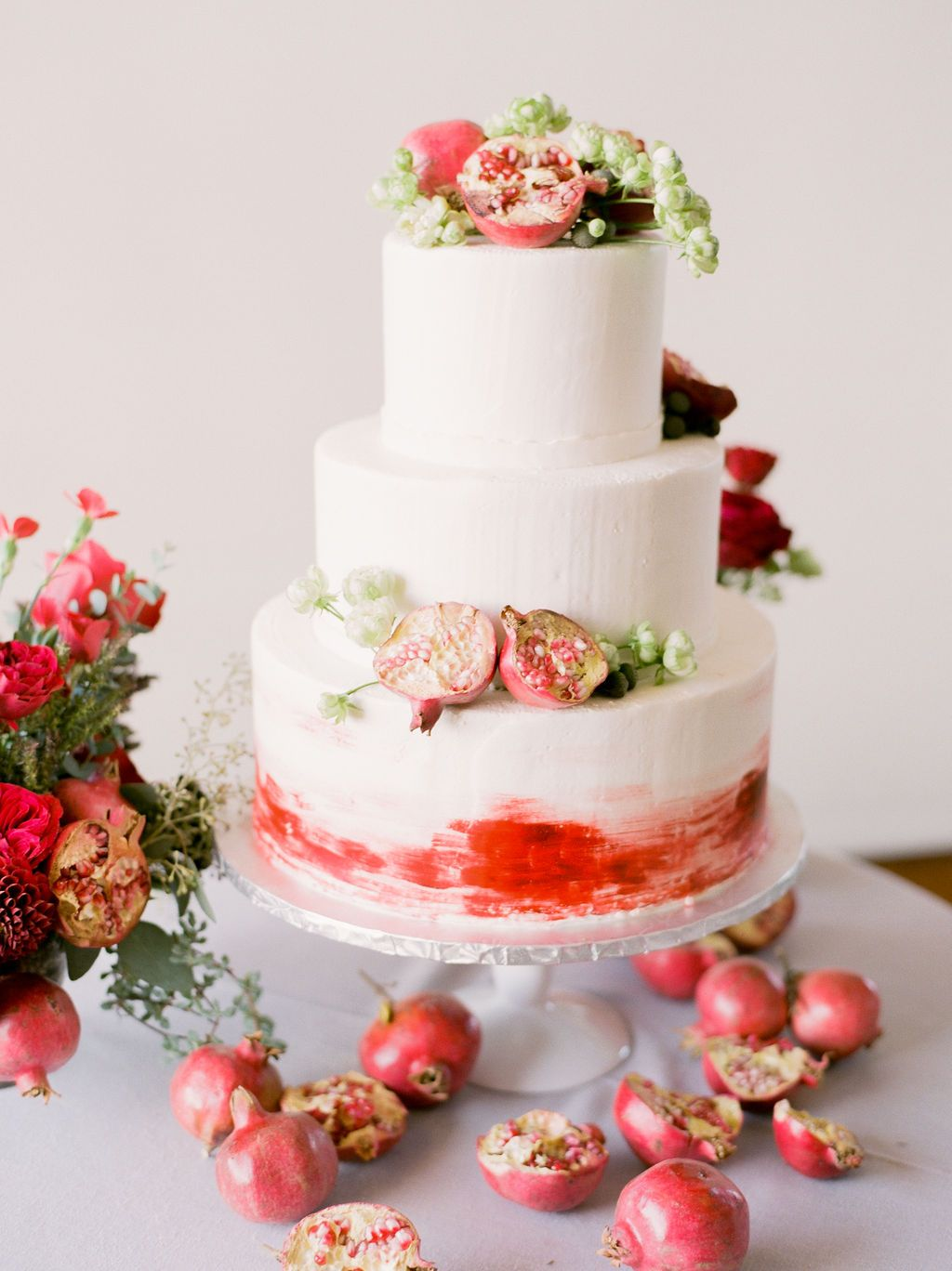 Red Themed Pomegranate Wedding Cake Event Planning Styling