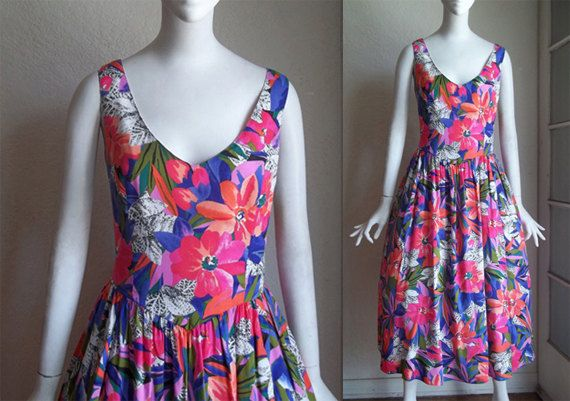 Vintage 80s Malia Tropical Floral Print Rayon Bombshell Tea Length Dress L 14 by funquejunque, $65.00