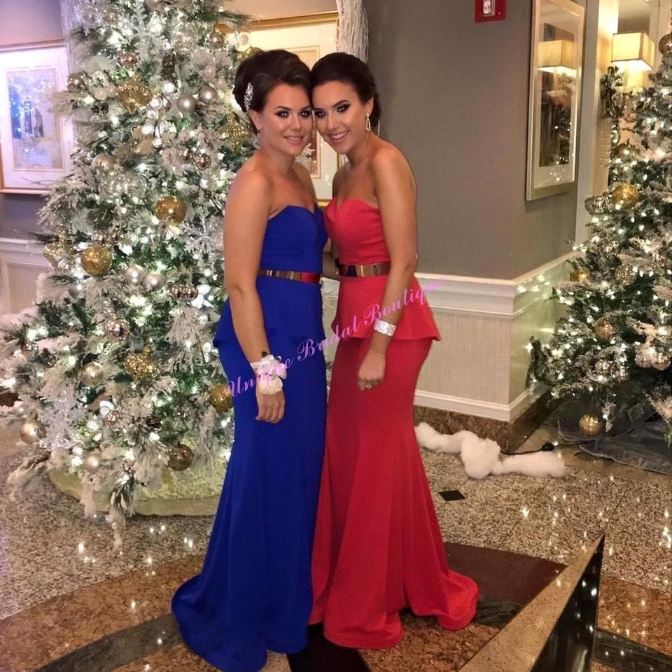 White prom dresses k prom dresses with peplum and gold sash
