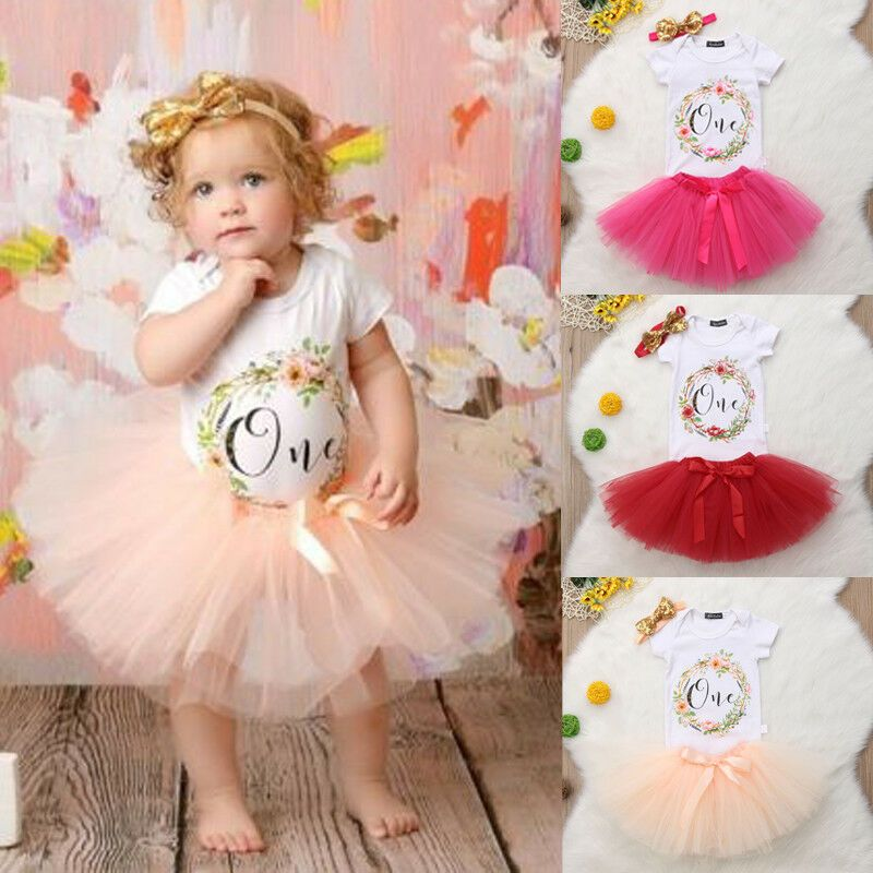 Baby Girl First 1st Birthday Outfit Tutu Skirt Dress Pink Cake Smash /& headband