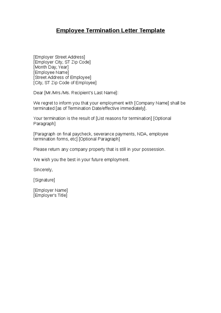 High Quality Employee Termination Letter Template Hashdoc Format Free Word Templates  Employment  Employee Termination Letter Format