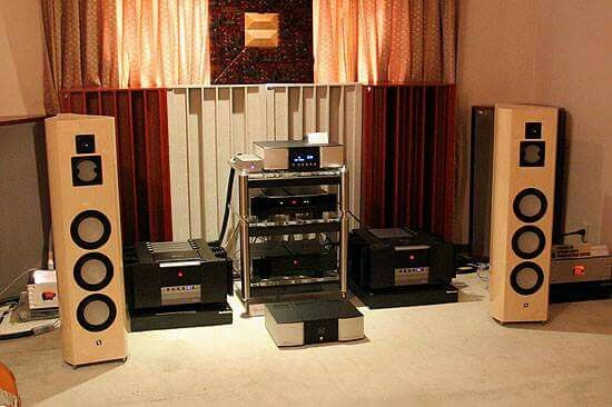 Lumin white speakers,Gryphon pre-power,& Lindemann 820 SACD player