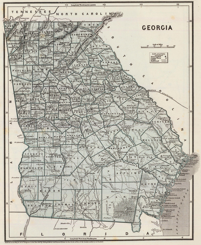 State and County Maps of Georgia | Georgia map, Georgia history ...