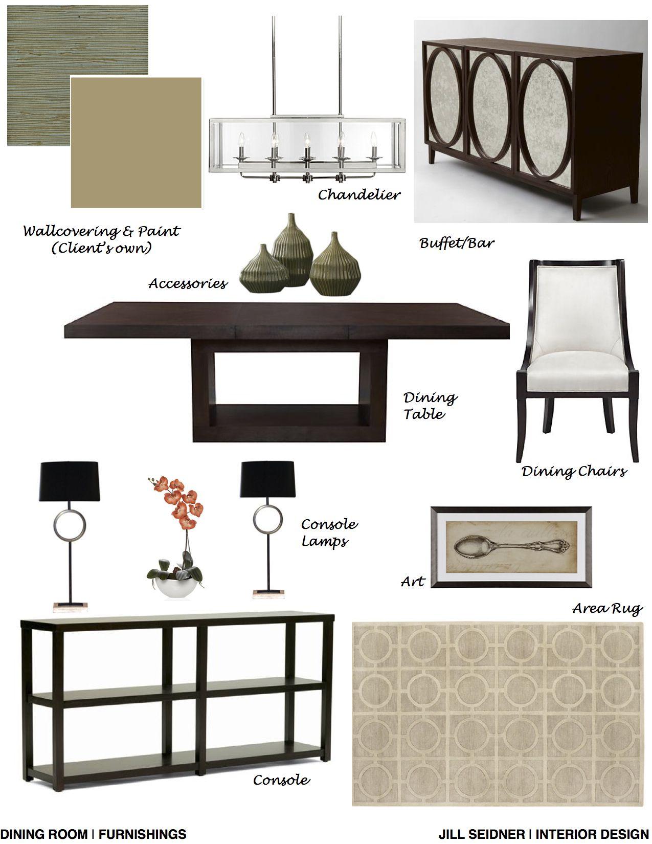 Katy TX Online Design Project Dining Room Furnishings Concept Board JSInteriorDesBlogspot