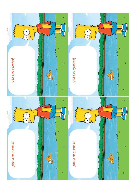 Invitaciones Fiesta De Simpsons Los Simpson Cumpleaños Y