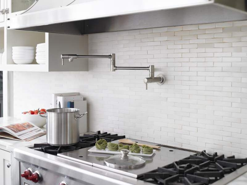 Hansgrohe 04218830 Polished Nickel Talis C Wall Mounted Double Jointed Pot Pot Filler Pot Filler Kitchen Pot Filler Faucet