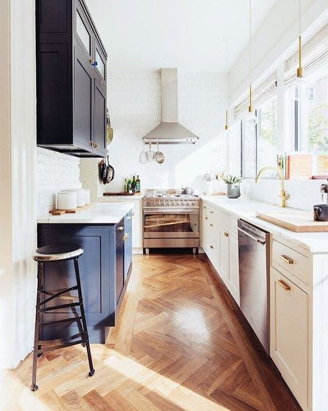 From The Herringbone Floors To The Contrasting Cabinets With Sleek Mesmerizing Brooklyn Kitchen Design Design Inspiration