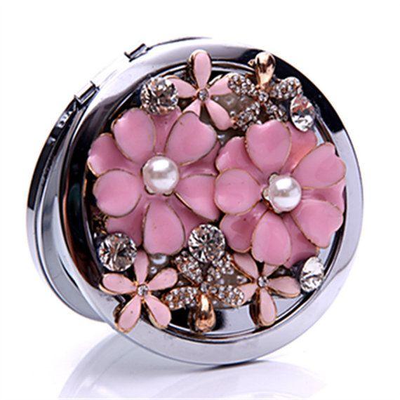 Diy Crystal Flower 7 7 1cm Make Up Cosmetic Mirror Or