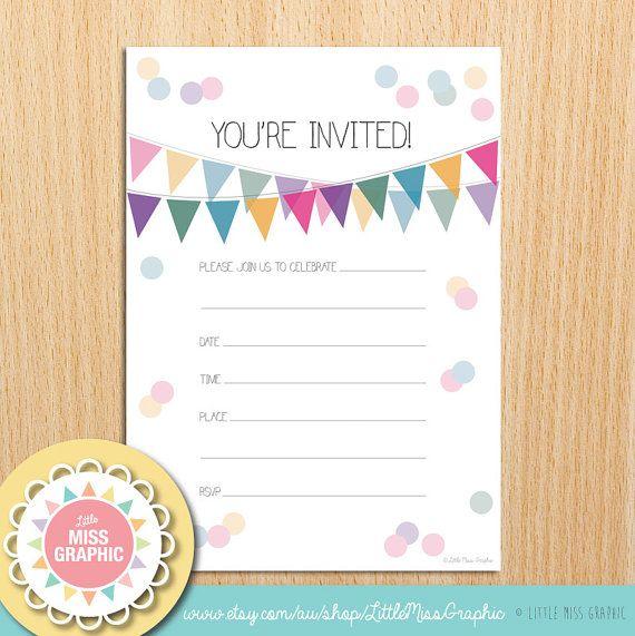 INSTANT DOWNLOAD Confetti Bunting Rainbow Party Invite
