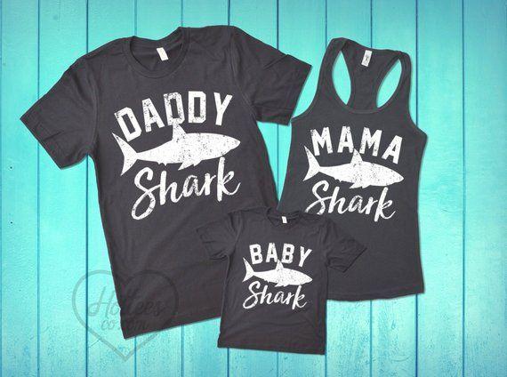 6e9f2be1 Mama Shark Daddy Shark and Baby Shark Shirts, Matching Family Shark T-Shirts,  Shark Shirt, Shark Birthday Party, Mom and Dad Matching Tees