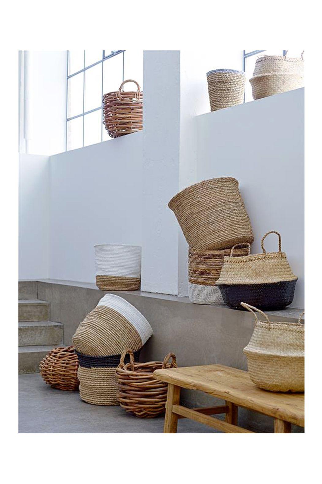 panier boule en jonc de mer avec anses sweet home home decor baskets home decor et basket. Black Bedroom Furniture Sets. Home Design Ideas