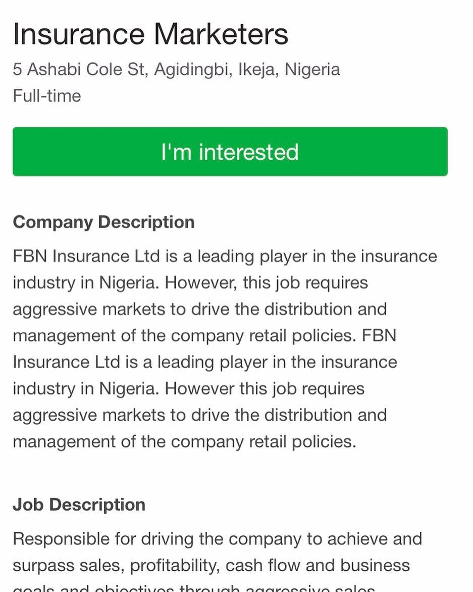 First Bank Of Nigeria Fbn Insurance Limited Recruiting For