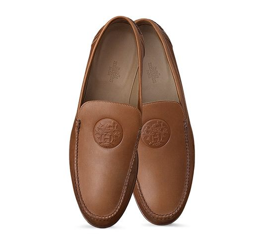 dc1f020d3bf Hermes men s moccasin in smooth calfskin with Ex Libris embossed detail and  leather sole