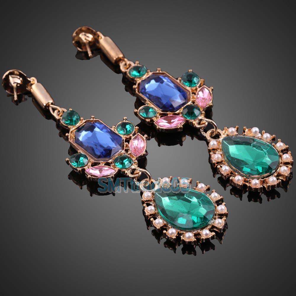 European Fashion Women Retro Blue Green Imitation Gem Pearl Stud Earrings B S5 | eBay