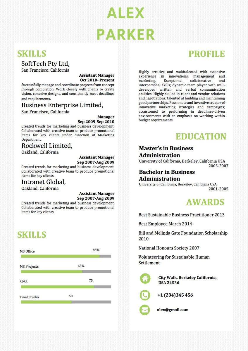 Simple TwoColumns Word Resume Template Words, Simple