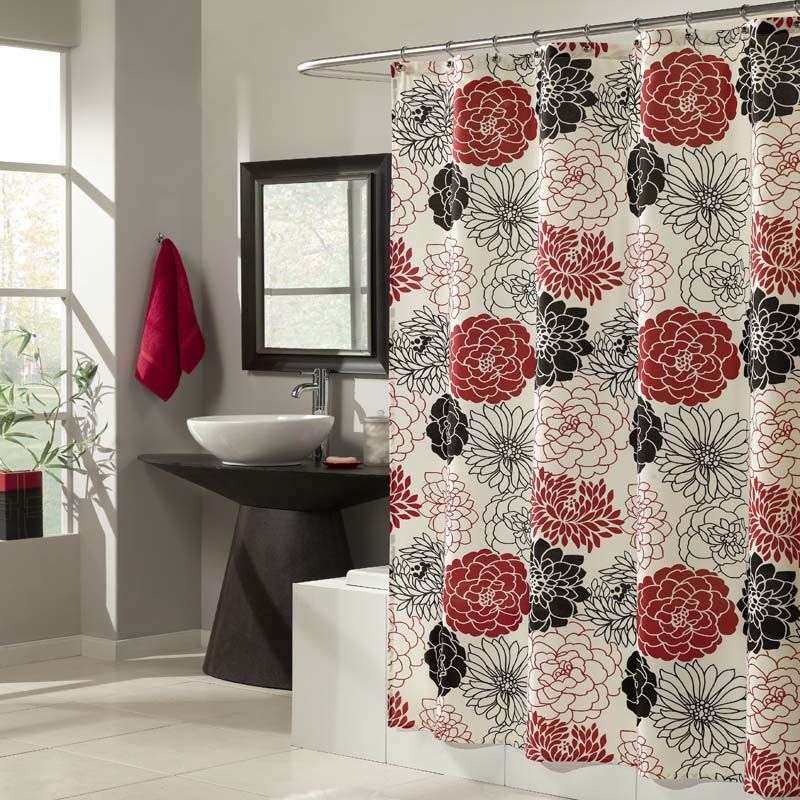 Gorgeous Black And Red Flowers Surround This Shower Curtain In A