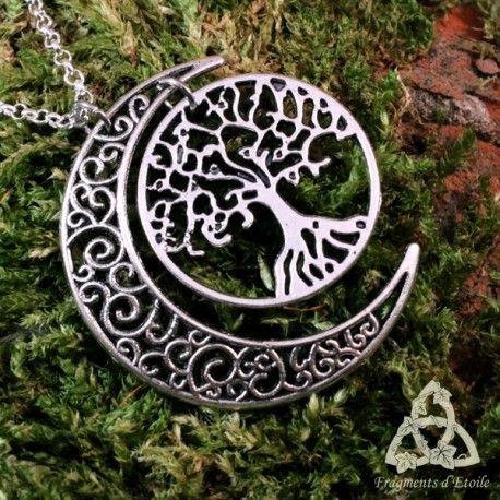 collier elfique argent pendentif croissant de lune arbre. Black Bedroom Furniture Sets. Home Design Ideas