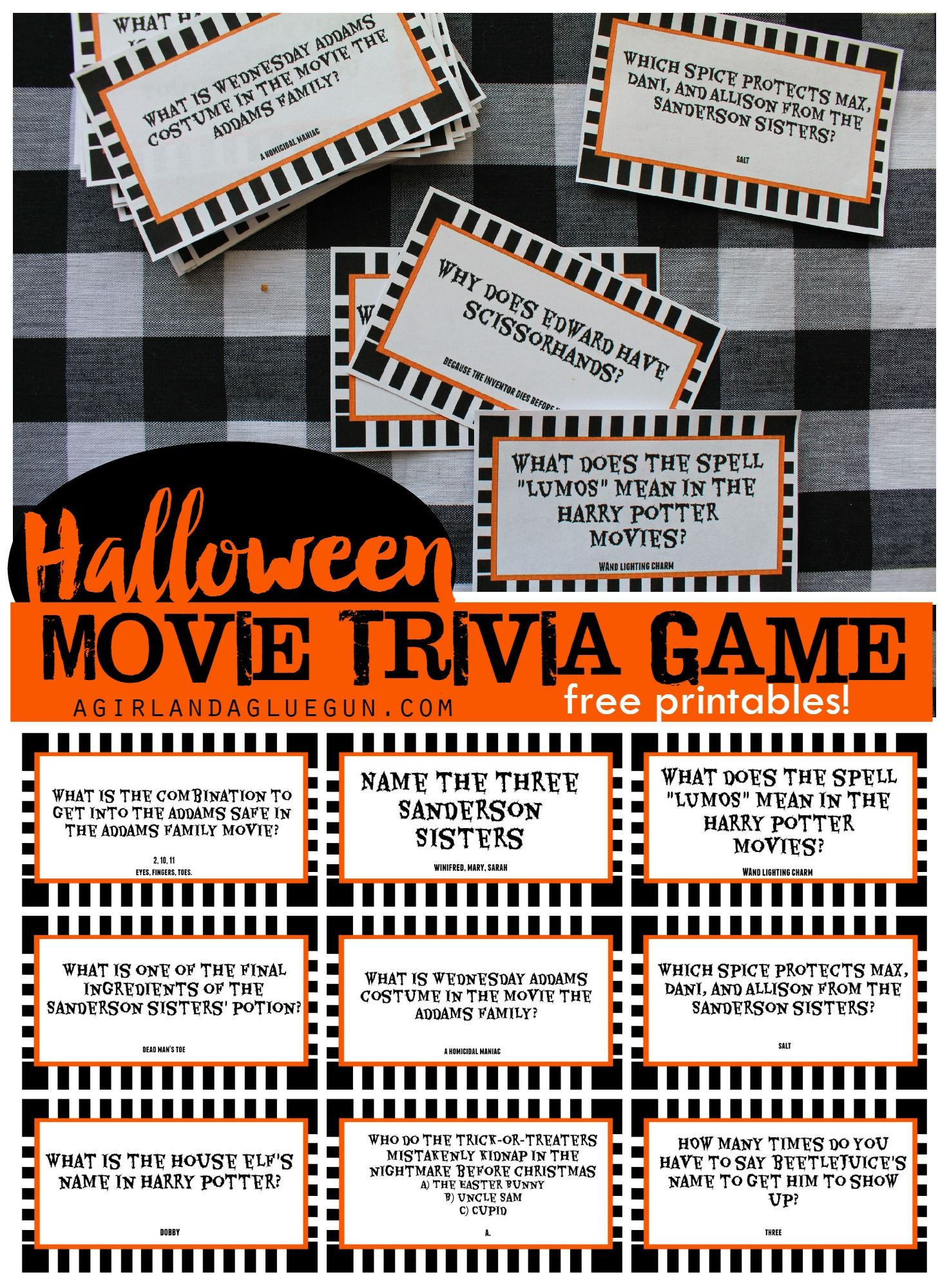 Halloween trivia game with free printables-kids version and adult ...
