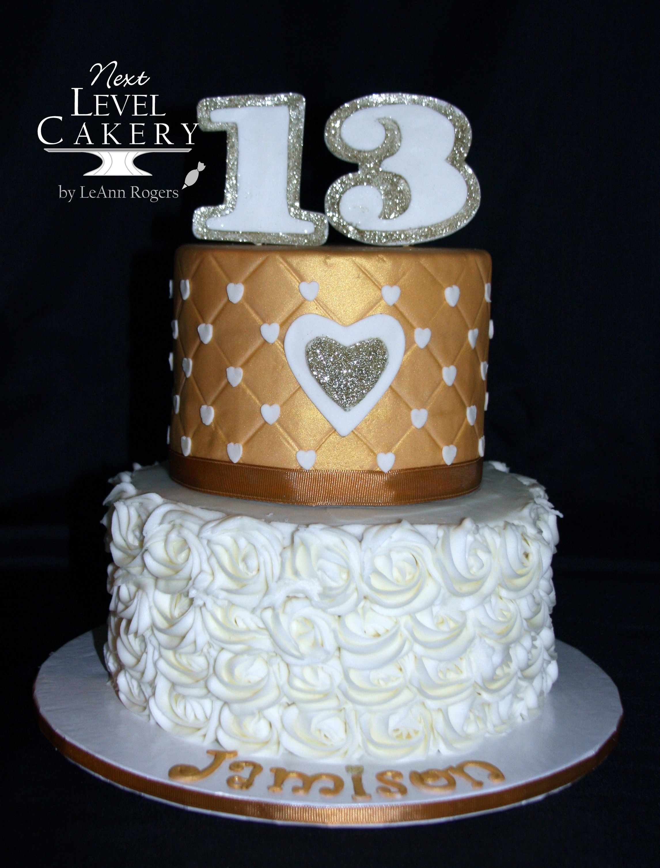 Gold And Ivory Cake 13 Year Old Girl Cake Hearts Rosettes Cake