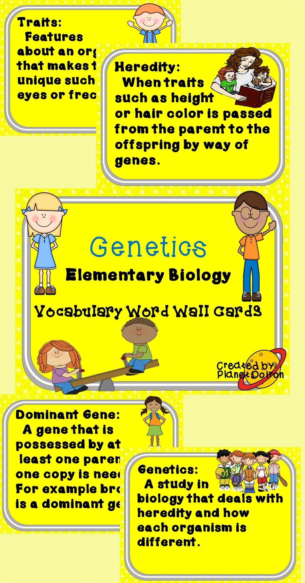 Elementary Biology Genetics Vocabulary Word Wall Cards