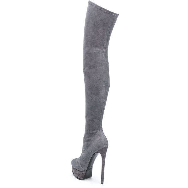 thigh length platform boots - Black Casadei