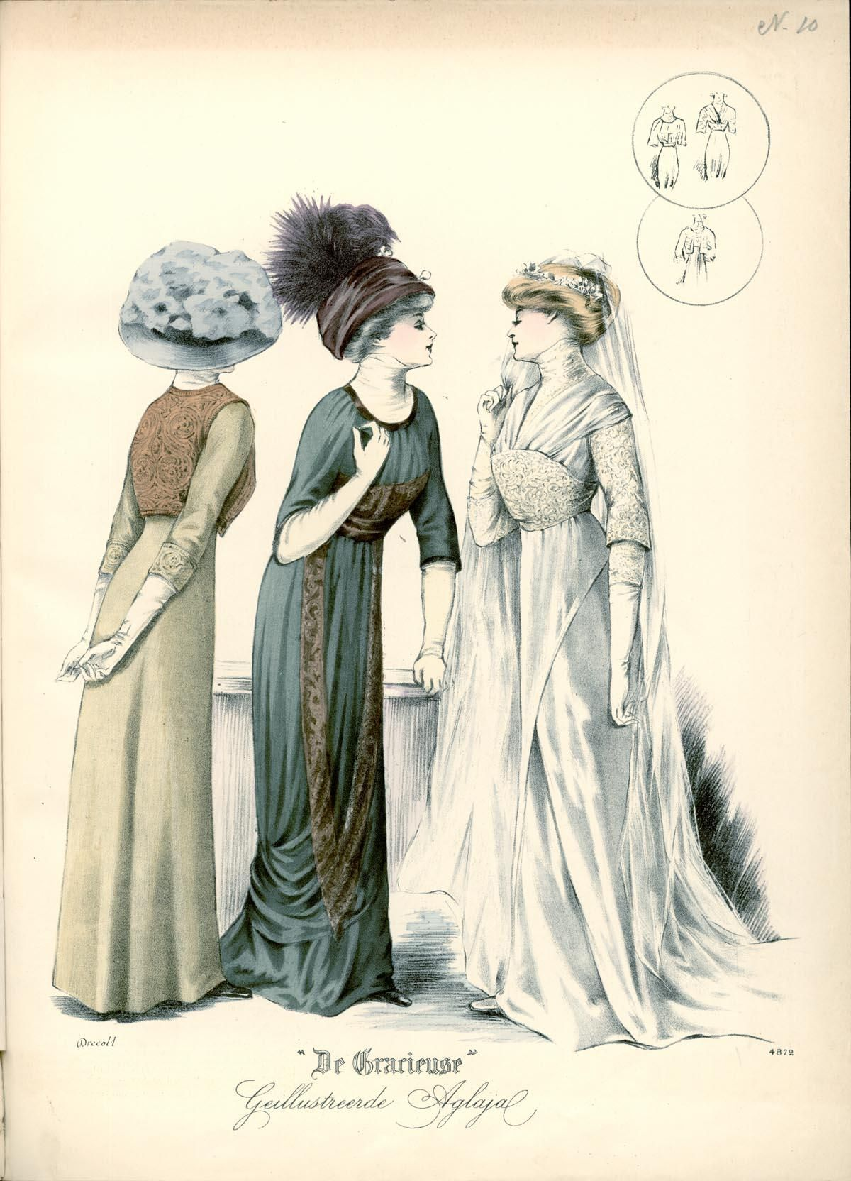 De Gracieuse (May 1910) gowns for bridal party, I would love to recreate the gown on the left - short and simple A-line dress with embroidered bolero