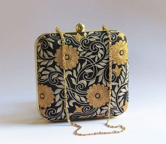 Gold Floral BLACK BOX CLUTCH,Designer clutch,embroidered clutch pattern, black minaudiere, Luxury evening Bag, wedding, bridesmaid clutch
