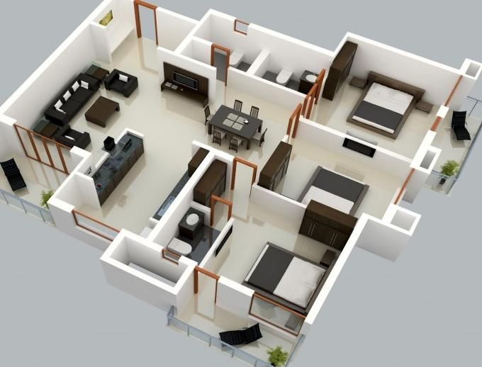 Home And Apartment 3d Three Small Bedrooms House Using Home