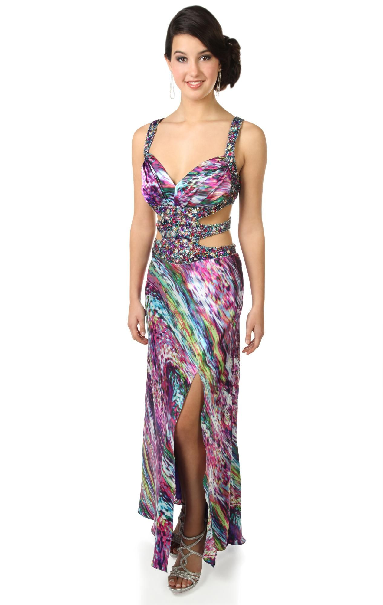 Deb Shops purple print #prom #dress with cut out side and beaded ...