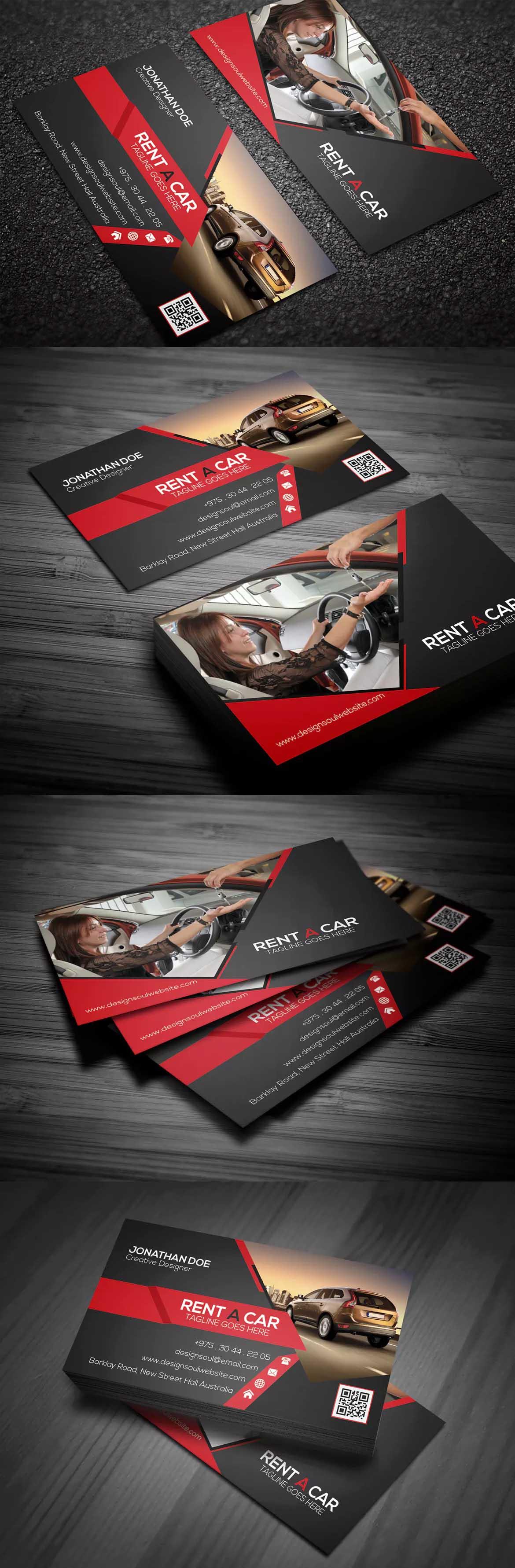 Rent A Car Business Card Template PSD Business Card Templates - Automotive business card templates