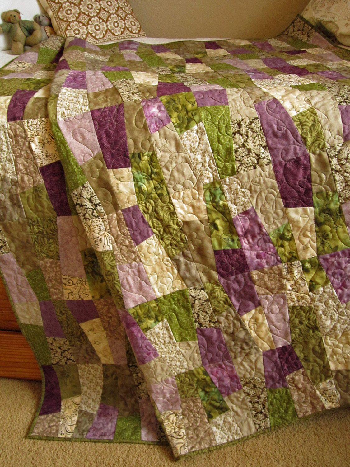 Patchwork Quilt Purple And Green 215 00 Handmade