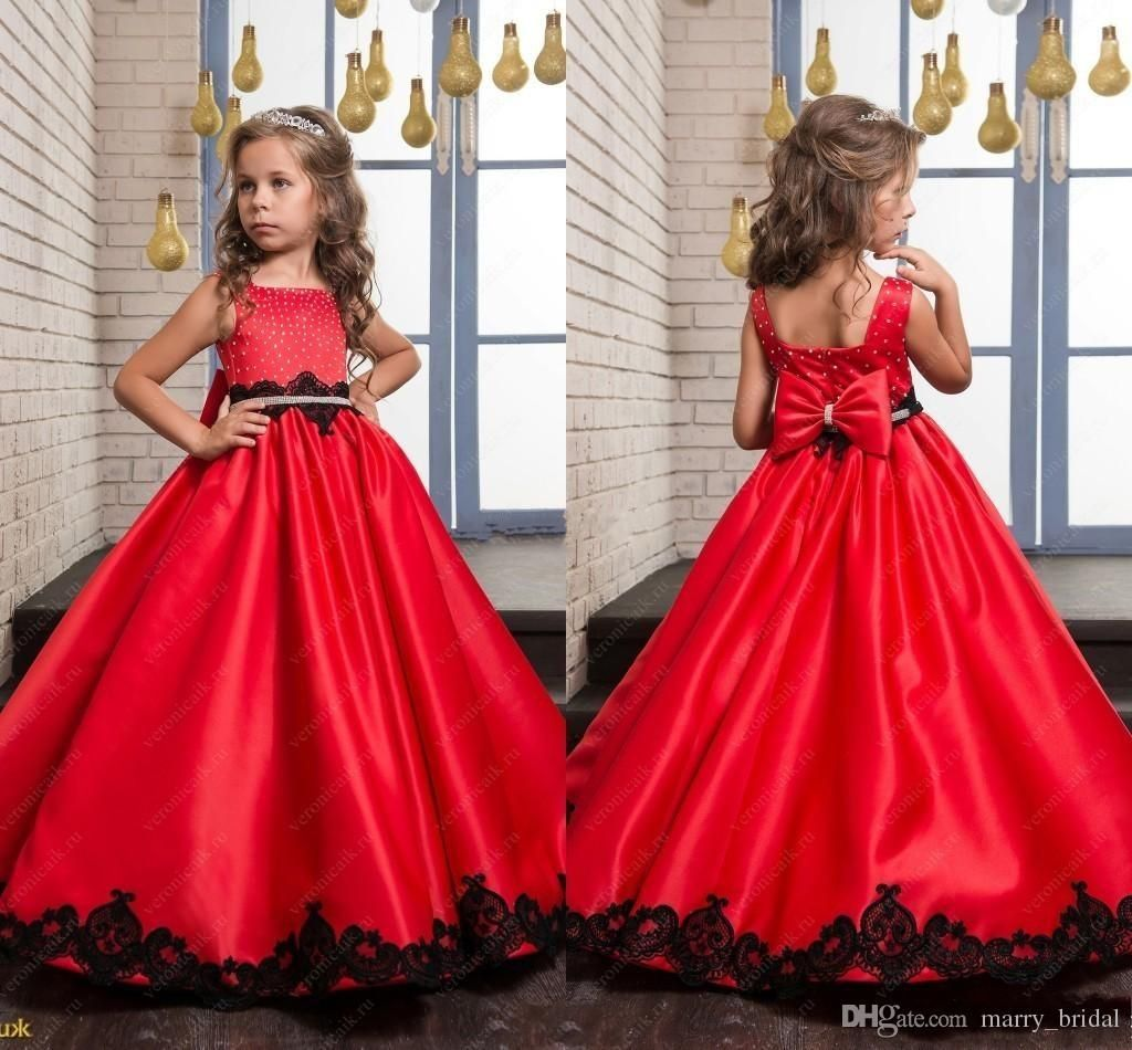 Black And Red Wedding Flower Girl Dresses 2017 Princess Vintage Lace Beaded Bow Satin Sleeveless Baby Child Party Formal Birthday Dresses Girls Dresses Size 10 Red Flower Girl Dresses Flower