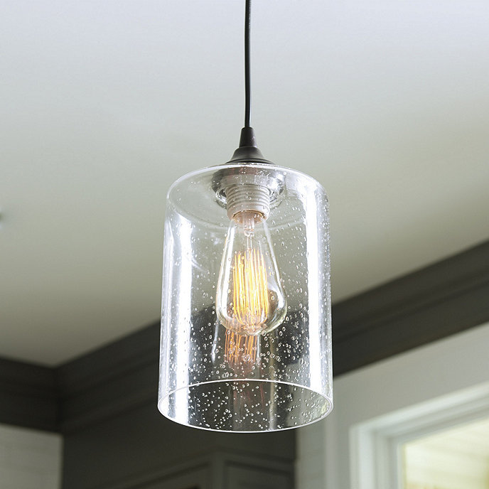 Plug In Light Adapter With Seeded Glass Pendant Shade Glass Pendant Shades Seeded Glass Pendant Can Lights