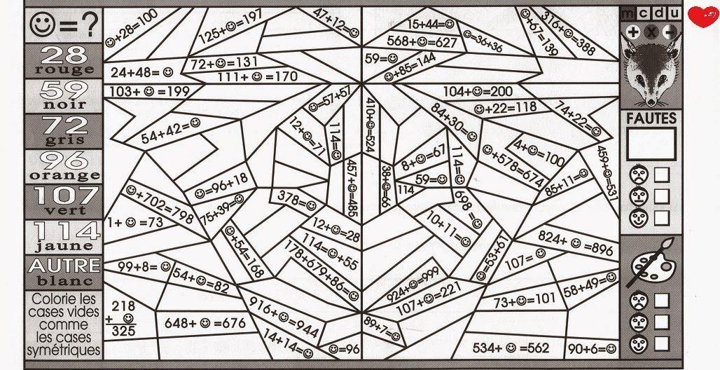 Page 3 Coloriages Magiques Mathematiques Ce1 Sedrap Coloriage