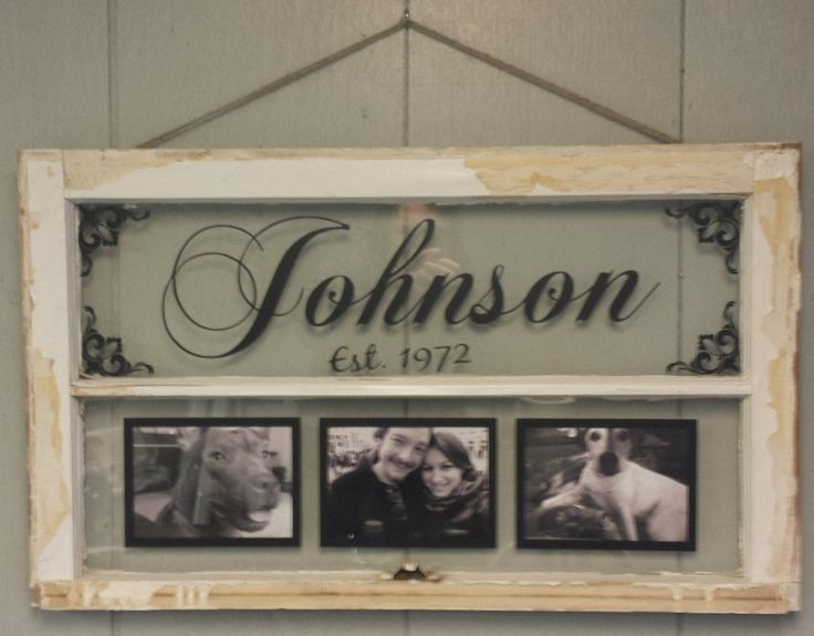 vintage window two pane family name by vaughncustomcreation picture frame ideas. Black Bedroom Furniture Sets. Home Design Ideas