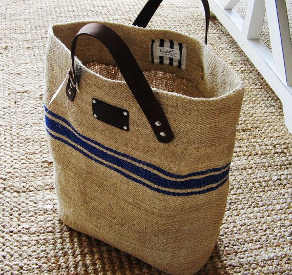 Cute French Linen Bag Beach Bag blue stripesLeather di Ecolution ...