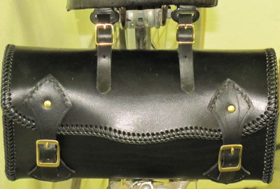 BICYCLE SADDLE BAG:  A carry all for your tools, personal items, and weather gear.  Hand cut from genuine vegetable tanned latigo leather. Black