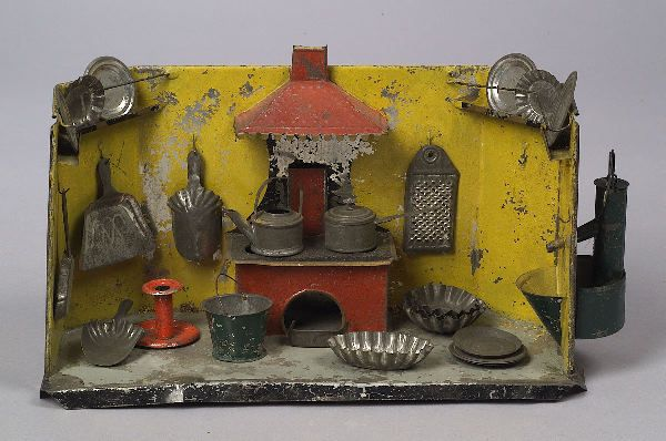 3202: American Painted Tin Kitchen, 19th century, yello : Lot 3202