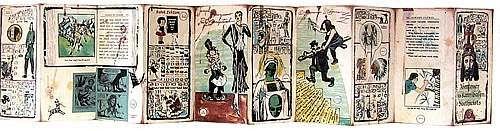 """Enrique Chagoya : """"Abenteurer der Kannibalen Bioethicists"""": 2001  Lithograph/woodcut/chine collé/collage : 7½ x 92"""" : Ed. 30 :"""