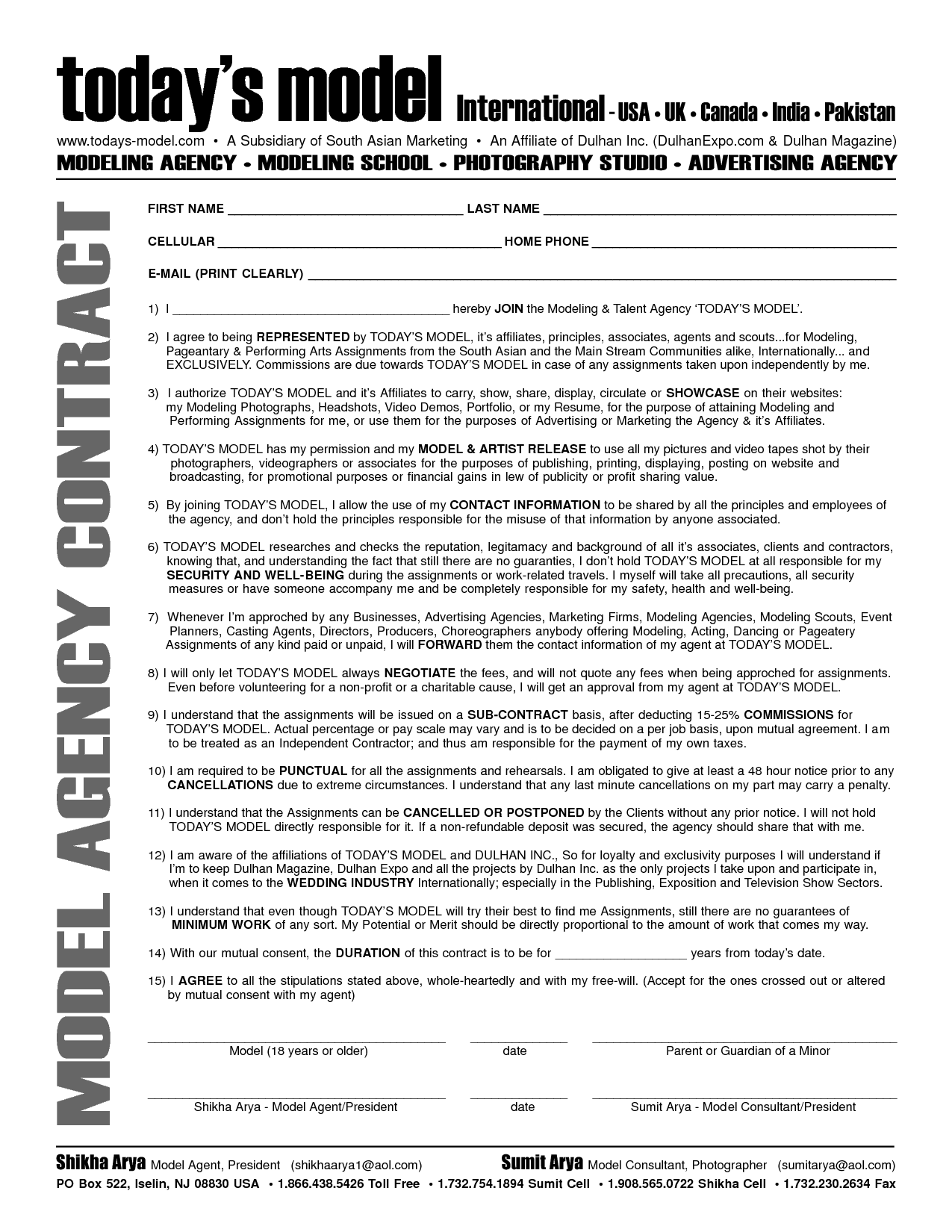 Independent Contractor Agreement Form. Service Contract Sample ...
