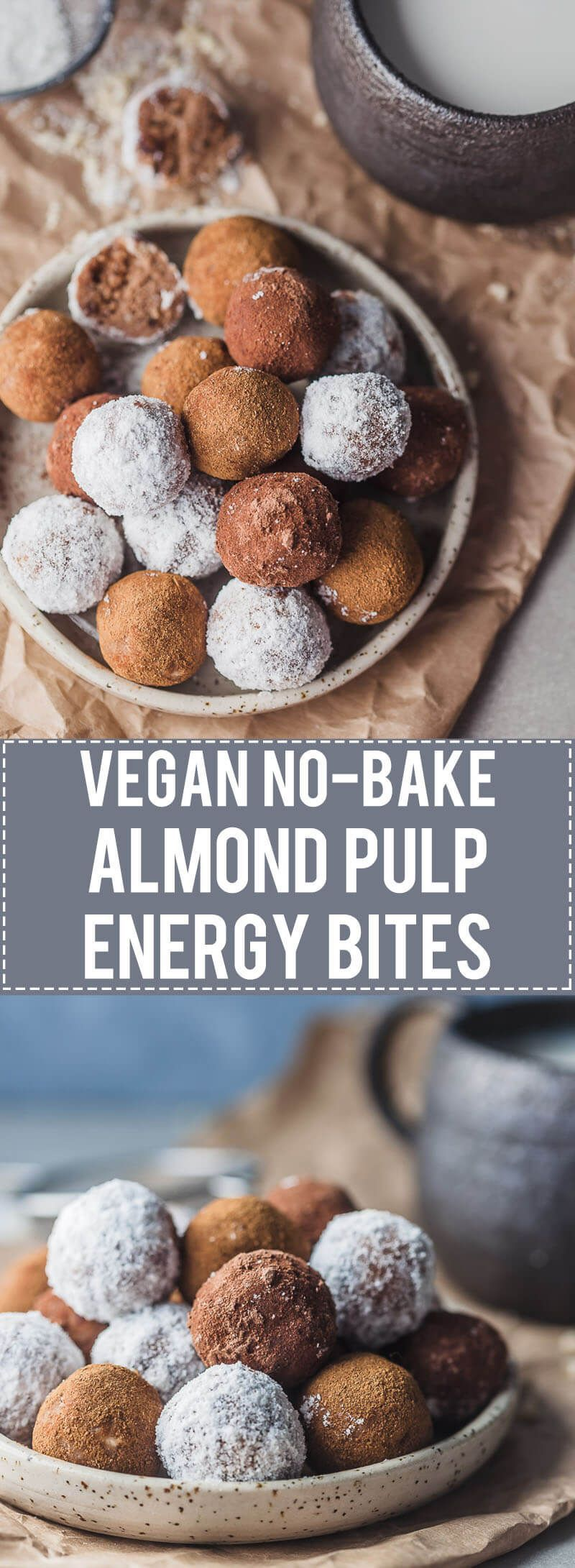 No-bake Almond Pulp Energy Bites are just perfect for using up leftover almonds from almond milk. Vegan & Gluten-Free! Almond Pulp Energy Bites are just perfect for using up leftover almonds from almond milk. Vegan & Gluten-Free!