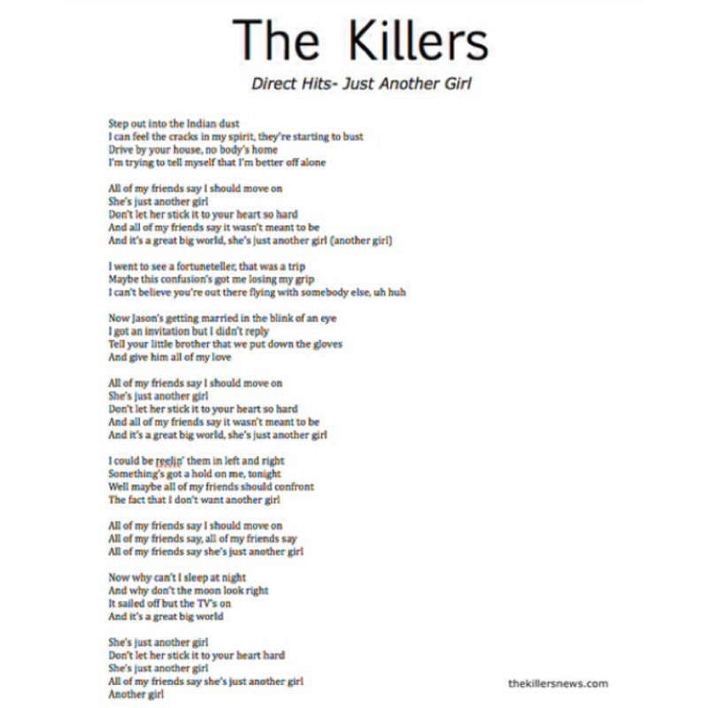 lyrics to the new Killers song