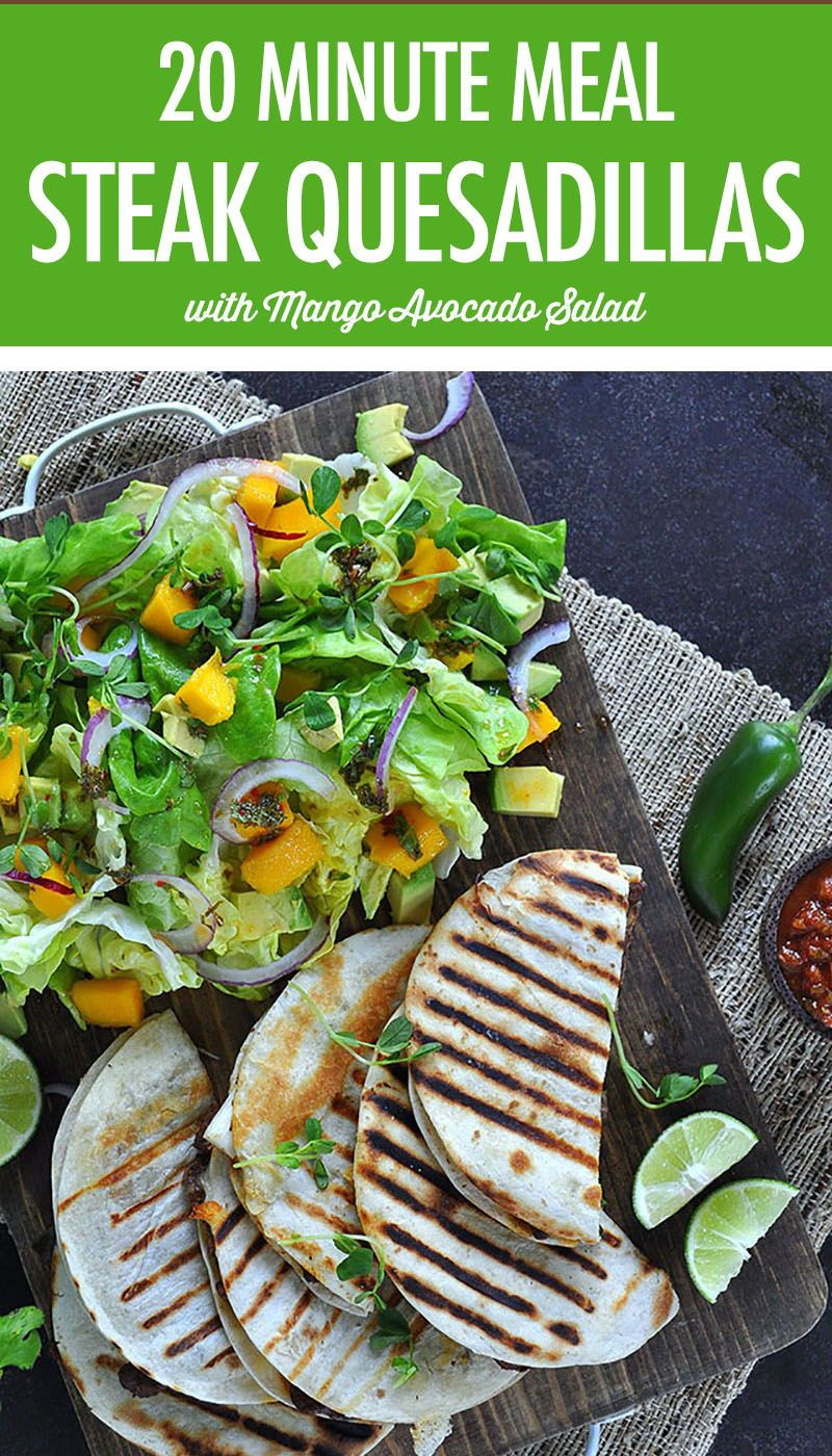 On Board in 20: Steak & Scallion Quesadillas with Mango Avocado Salad images