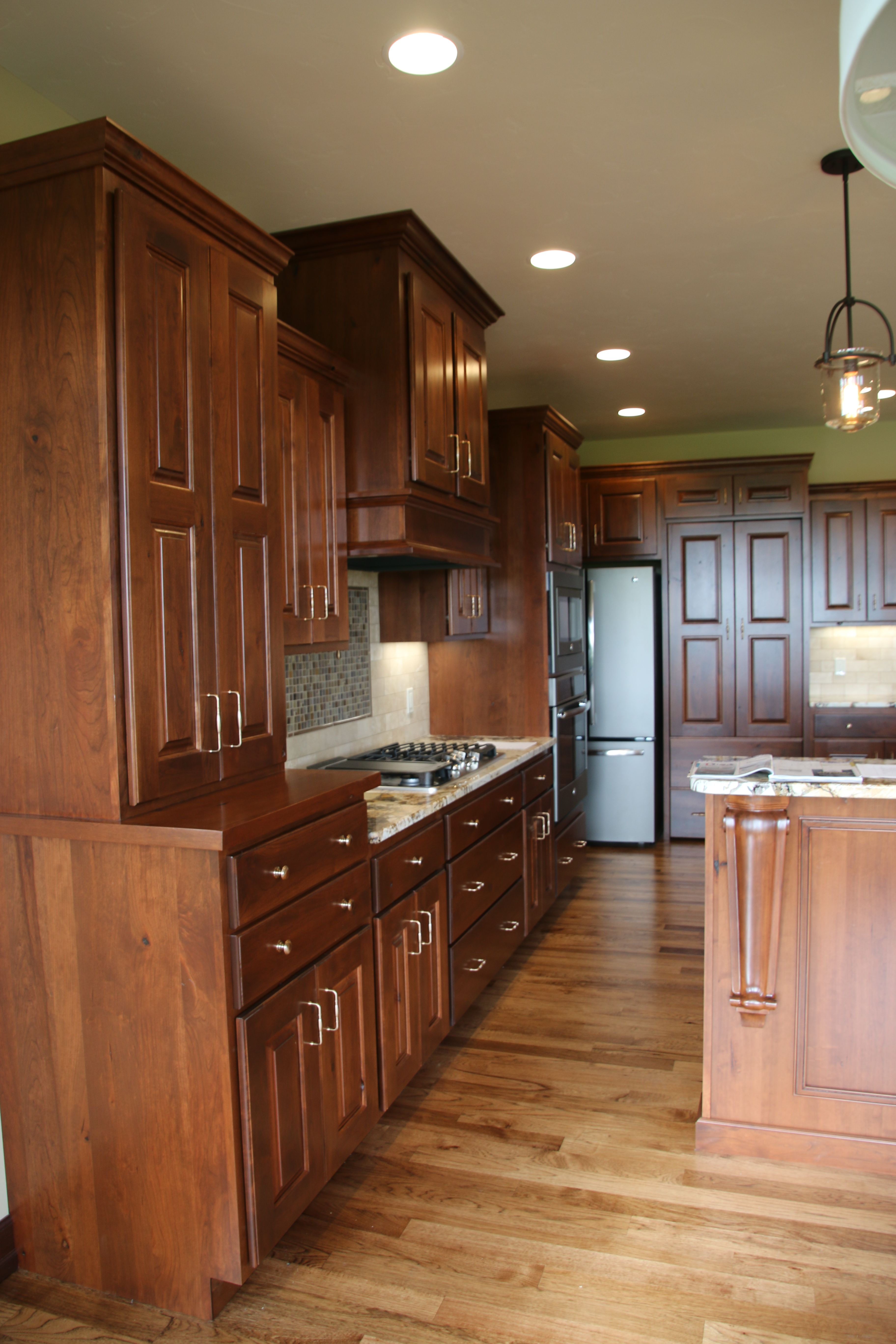 Kitchen Rustic Cherry Wood W Rose Gold Hardware Cherry Wood Cabinets Rustic Kitchen Custom Cabinetry