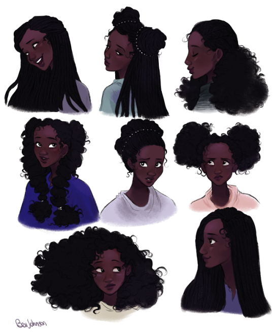 Girl Hairstyle Reference: Character Design, Black Girl Art