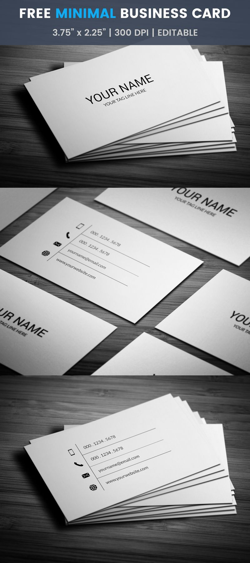 Minimal Multipurpose Business Card Template, #free, #card ...