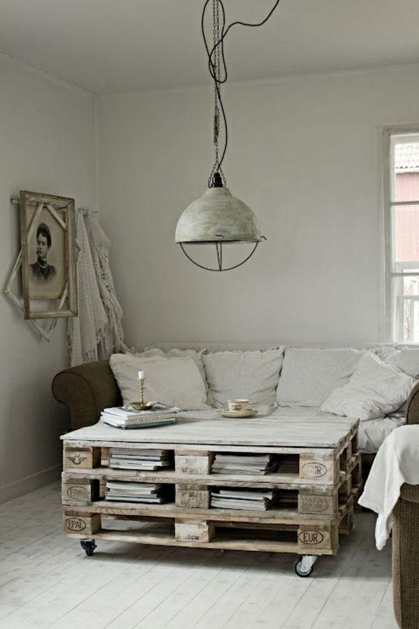DIY Möbel aus alten rustikal stil Paletten couchtisch paletten - holzpaletten regal