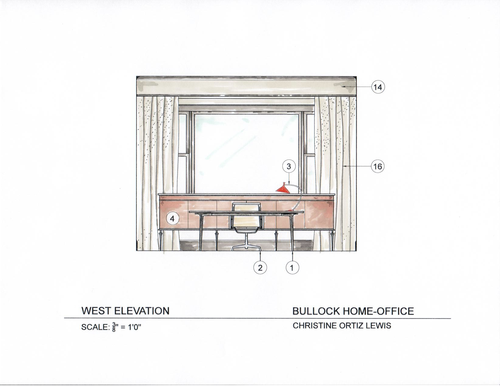 office desk drawing. oh! designs interiors, inc. drawing of client home office. desk/window office desk